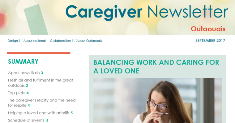 Appui Outaouais September 2017 Caregiver Newsletter