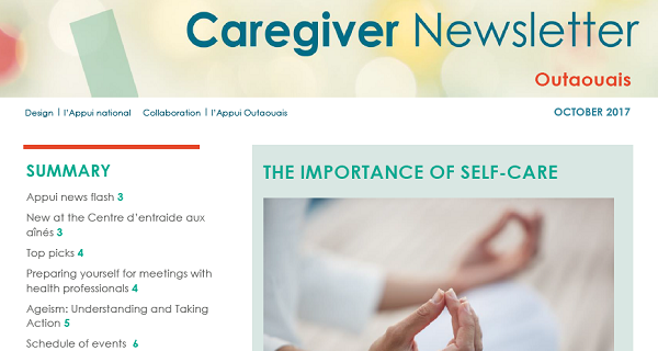 Appui Outaouais October 2017 Caregiver Newsletter