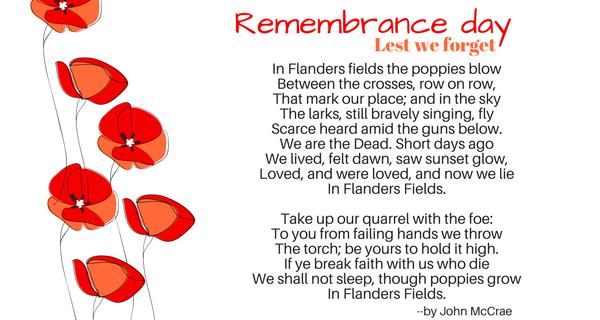 Remembrance Day. Lest We Forget. November 11, 2017